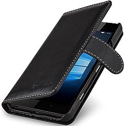 StilGut Talis, Housse Portefeuille en Cuir pour Microsoft Lumia 950, en Noir Nappa