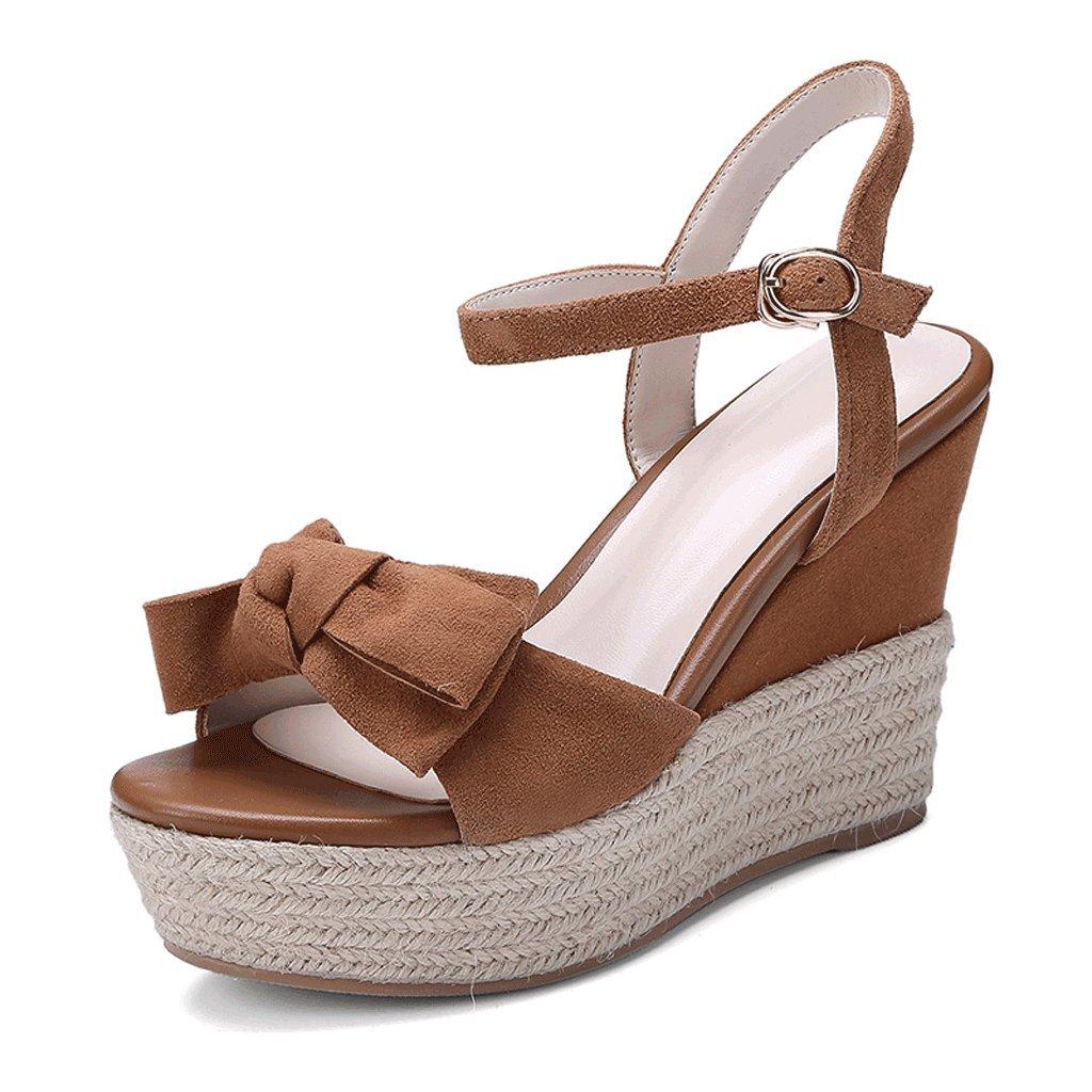 SANDALI Scarpe Open Toe Toe Toe con Tacco Alto alla Moda Scarpe da Donna Zeppa Marrone Adorabili (colore   Marrone, Dimensioni   39) f37c48