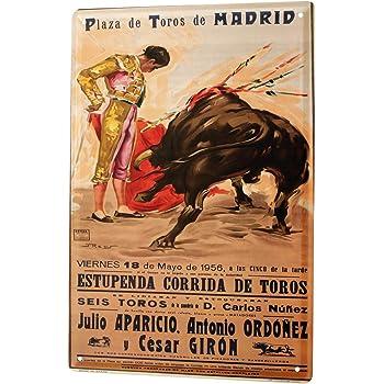 Tin Sign World Tour Madrid Bullfight Bullfighter Poster Metal Plate 8X12