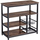 Homemaxs Kitchen Baker's Rack, 4 Tier+ 4 Tier Microwave Storage Stand with 2 Slide-Out Mesh Baskets, Vintage Utility Shelf fo