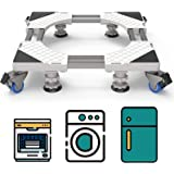Double Tubes Washing Machine Base with 4 Feet 4 Wheels, Adjustable Movable Furniture Dolly Roller Mobile Base with 4 Feet 4 L