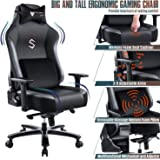 FANTASYLAB Big and Tall 400lb Massage Memory Foam Gaming Chair - Adjustable Tilt, Back Angle and 3D Arms High-Back Leather Ra