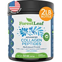 Advanced Hydrolyzed Collagen Peptides – Type 1, 2 and 3 Unflavored Protein Powder - Pasture Raised, Grass Fed - Anti-Aging, Joint, Skin, Hair and Bones Formula - 2 LBS, 80 Servings - ForestLeaf