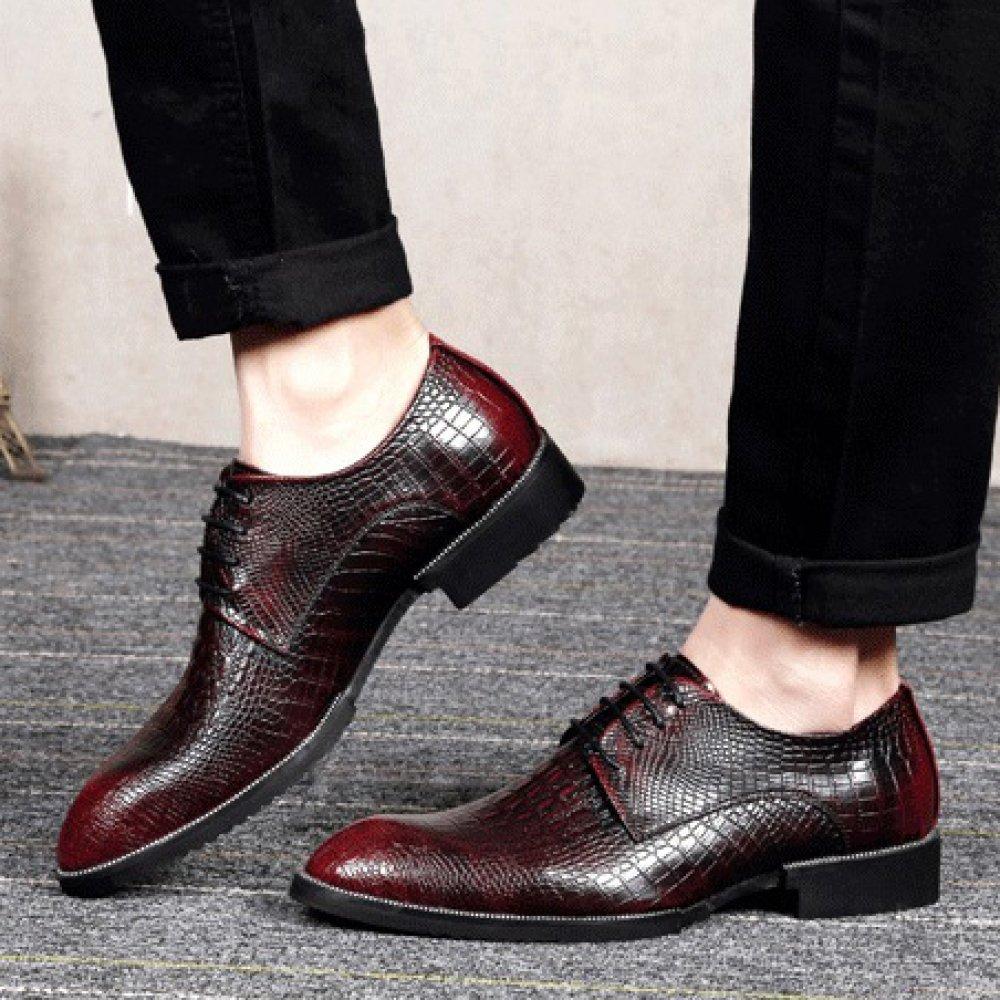 WLFHM Geschäftskleid-Freizeitschuhe Zeigten Krokodilmuster Mit Erhöhten Den Schuhen der Erhöhten Mit Männer ROT 95d898