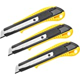 DOWELL Box Cutter Utility Knife Retractable Snap Off Blades Hobby Knife 3 Pack for Cutting Cardboard Boxes Leather (Yellow)