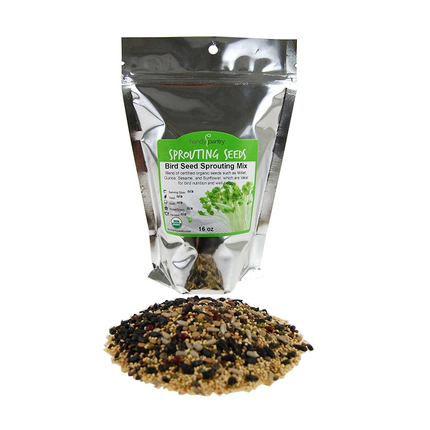 Organic Birdseed1 Lbs- Bird Seed Mix for Small, Medium & Large Birds- Feed for Songbirds, Parakeets, Parreds, etc.