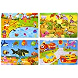 Wooden Jigsaw Puzzles Set for Kids Age 2-6 Year Old 30 Piece Colorful Wooden Puzzles for Toddler Children Learning Educationa