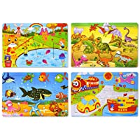 Wooden Jigsaw Puzzles Set for Kids Age 2-6 Year Old 30 Piece Colorful Wooden Puzzles...
