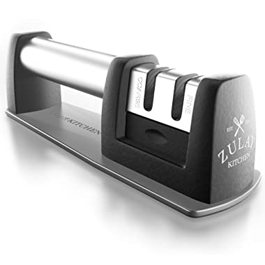 Zulay Premium Quality Knife Sharpener for Straight and Serrated Knives Stainless Steel Ceramic and Tungsten - Easy Manual Sharpening for Dull Steel, Paring, Chefs and Pocket Knives, Sharpens Scissors
