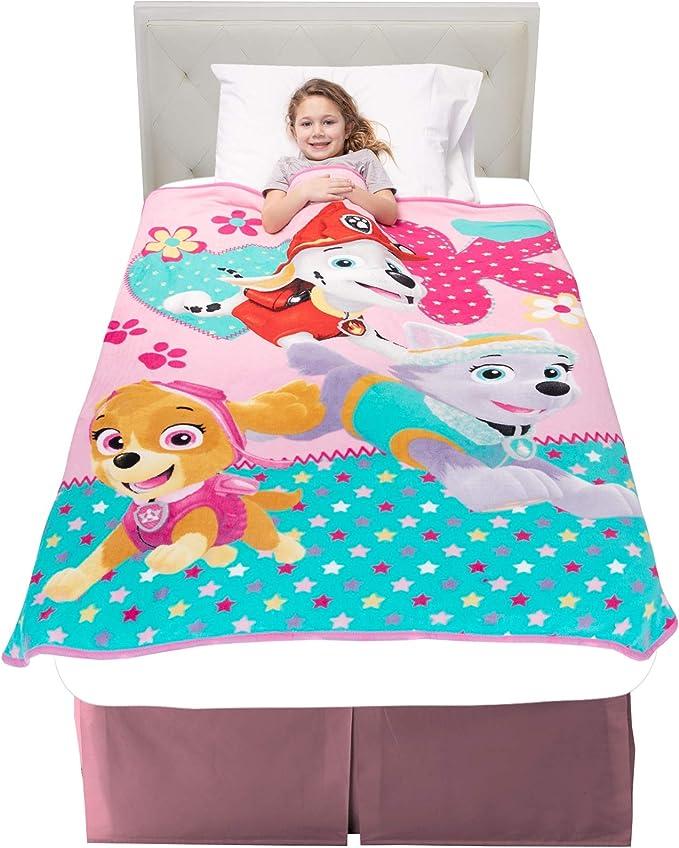 "Amazon.com: Franco A3348C Kids Bedding Super Soft Plush Throw, 46"" x 60"", Paw Patrol Pink: Home & Kitchen"