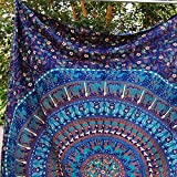 Montreal Tapessier Blue mandala Hippie Tapestry, Hippy Mandala Bohemian Tapestries, Indian Dorm Decor, Psychedelic Tapestry Wall Hanging Ethnic Decorative (Multi Color)