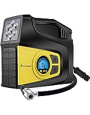 Air Compressor,FYLINA Portable Air Inflator Tire Pump for Cars/Bikes/Airbeds/Motorcycles/Basketballs,2 Nozzle Adaptors,3 Mode LED Light, Digital LCD Pressure Gauge,12V 120PSI