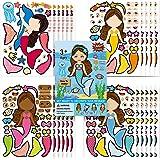 Mermaid Stickers,Make Your Own Mermaid Stickers,Make A Mermaid Stickers DIY Stickers Perfect for Mermaid Party Supplies & Fav