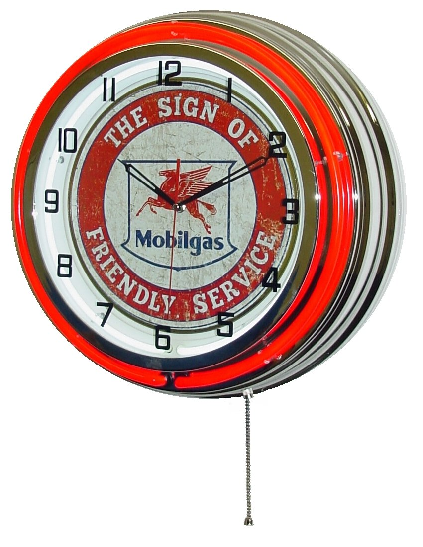 MOBILGAS FLYING PEGASUS 18  DUAL NEON LIGHT WALL CLOCK GASOLINE GAS FUEL PUMP OIL SIGN RED CHROME FRIENDLY SERVICE