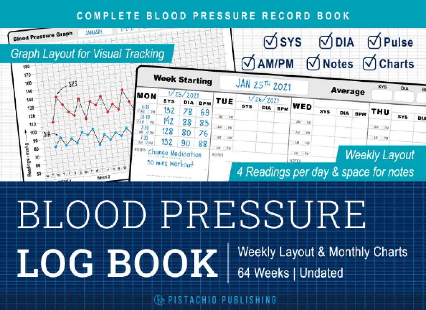 Blood Pressure Log Book Complete Blood Pressure Record Book with ...