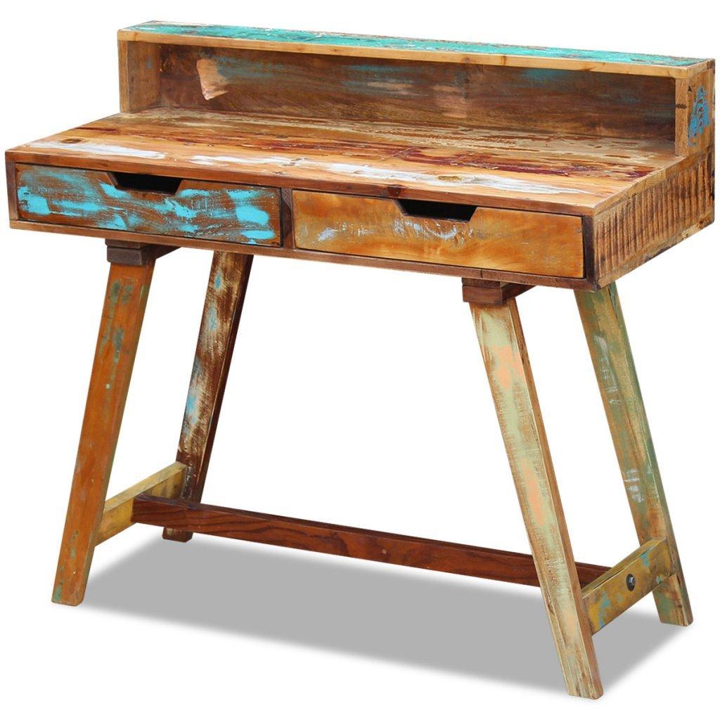 VidaXL Solid Reclaimed Recycled Wood Rustic Desk Table Handmade 2 Drawers 100x45x90 cm