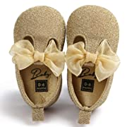 Voberry Toddler Baby Girls Boy's Sneaker Moccasins Anti-slip Soft Sole Bow Shoes (6~12Month, Gold)