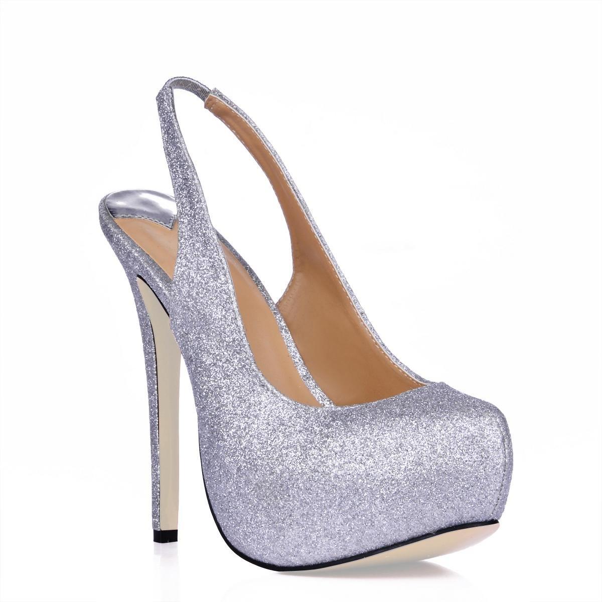 Best 4U® Damen Sandale Stiletto Gummisohle Runde Kappe 10cm High Heel Sommer Frühling Volltonfarbe Bling Schuhe Slingback