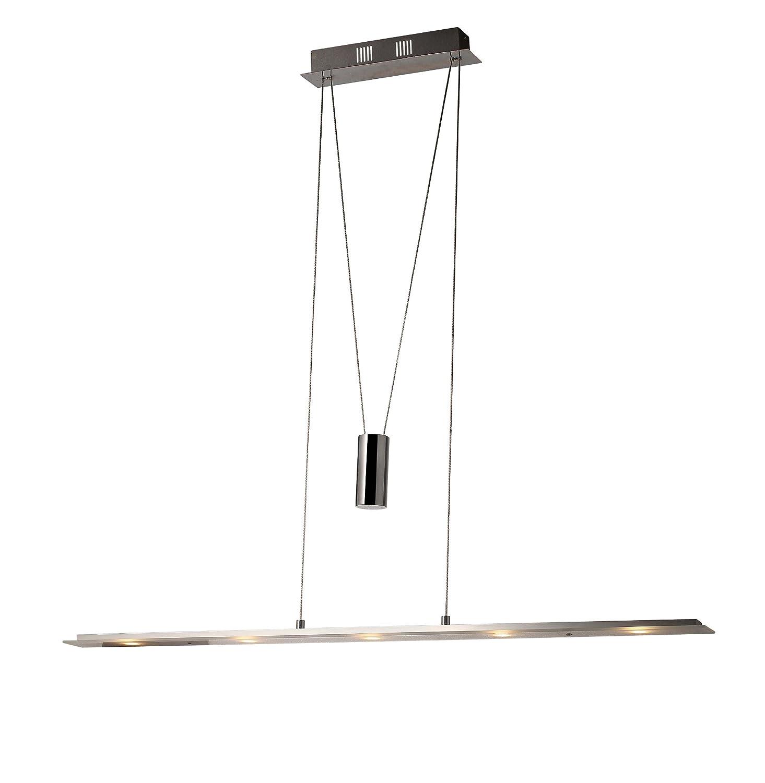 LED 5x5W Pendelleuchte SD8095-05A höhenverstellbar Hängeleuchte in chrom,Glas weiß satiniert, Länge 100cm,Breite 10cm Höhe 150cm 3000k warmweiß LED