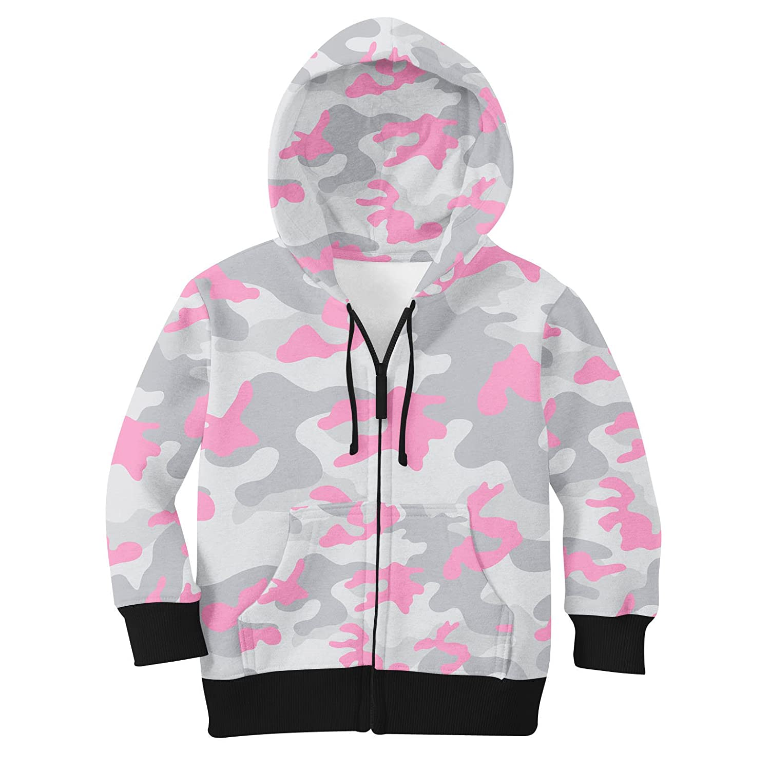 Pastel Pink 10 colord Camouflage Kids Zip Up Hoodie Unisex