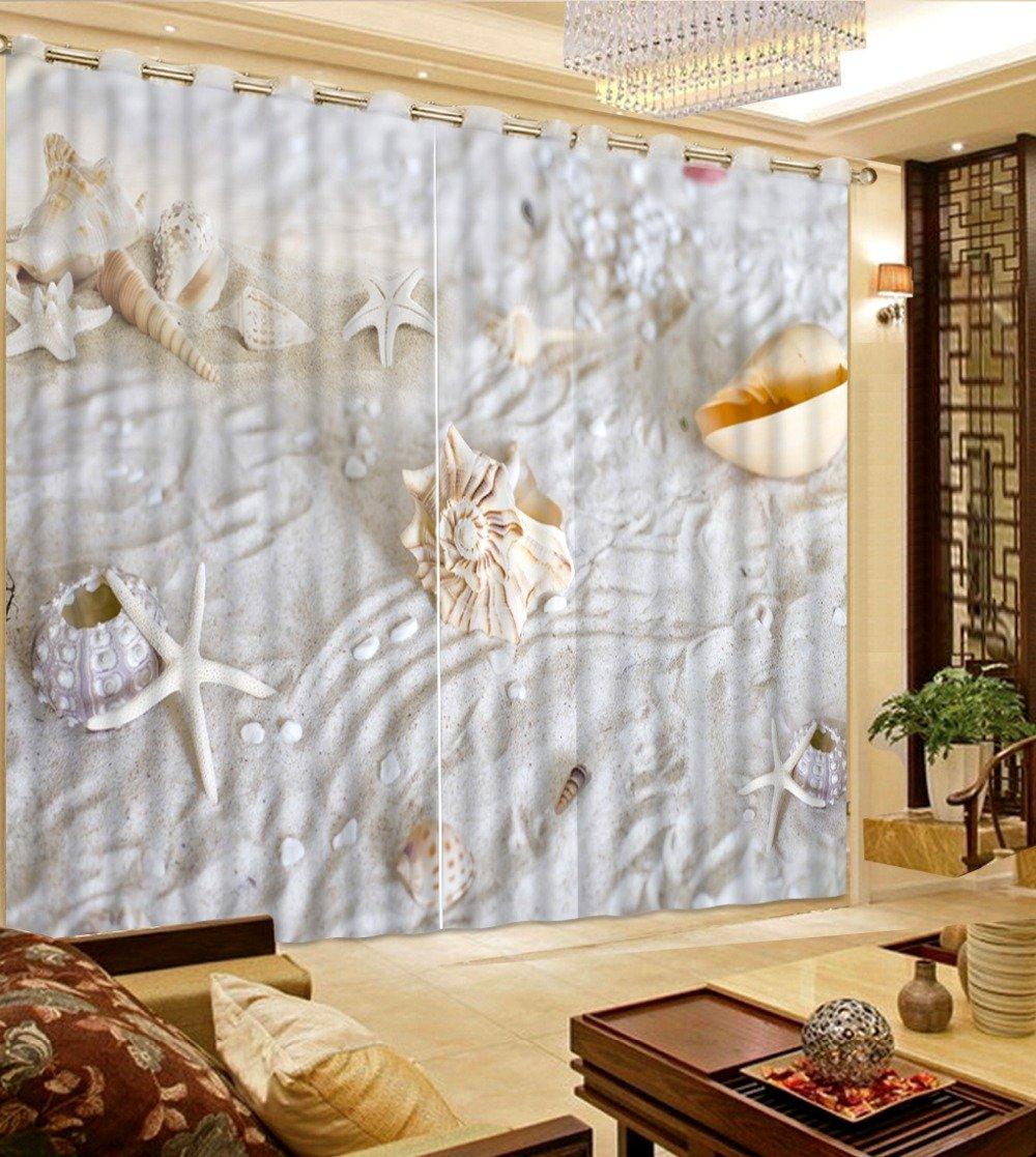 Waple 3D-Schlafzimmer Gardinen Benutzerdefinierte Größe Muscheln und Seesterne Beach Home Dekoration Modernes Schlafzimmer Gardinen 240X260CM