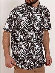 Camisa Estampada Manga Curta Masculina Branco/marrom
