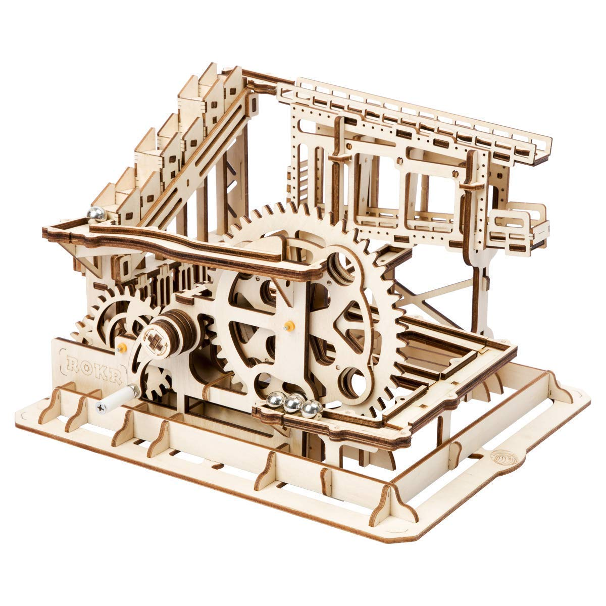 A Model Building Kits Mechanical 3D Wood Puzzle,Wood Lift Marble Coaster Mechanical Construction Kit with Ball Toy Gifts for Adults & Teens,A
