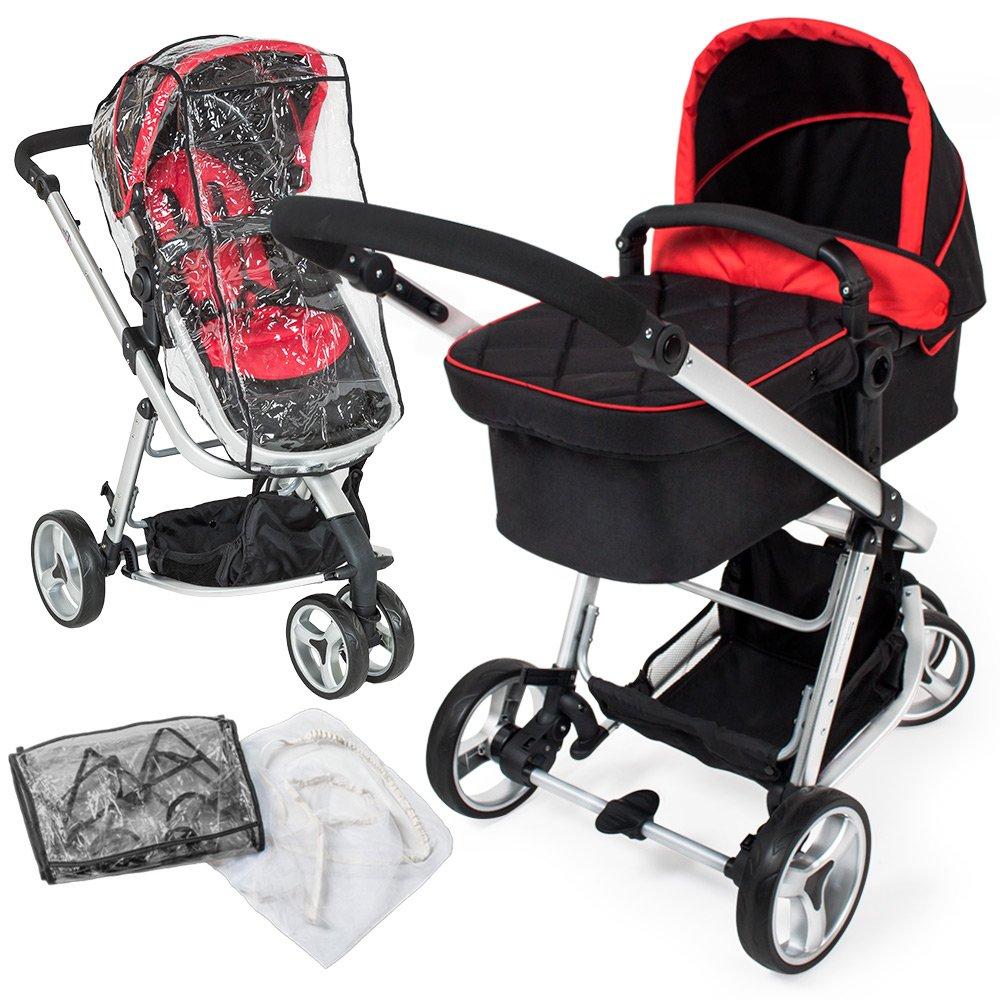 TecTake 3 en 1 Poussette Canne de Voyage Voiture d'Enfants Baby Confort Jogger - diverses couleurs au choix - (Rouge/Noir) product image