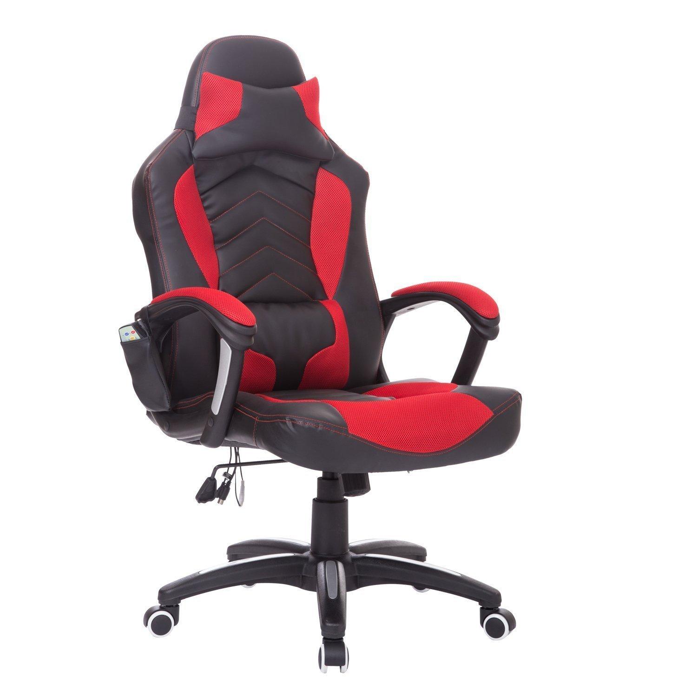 HOMCOM® Bürostuhl Drehstuhl Sportsitz Massagesessel Chefsessel Massage mit Wärmefunktion (schwarz + rot)