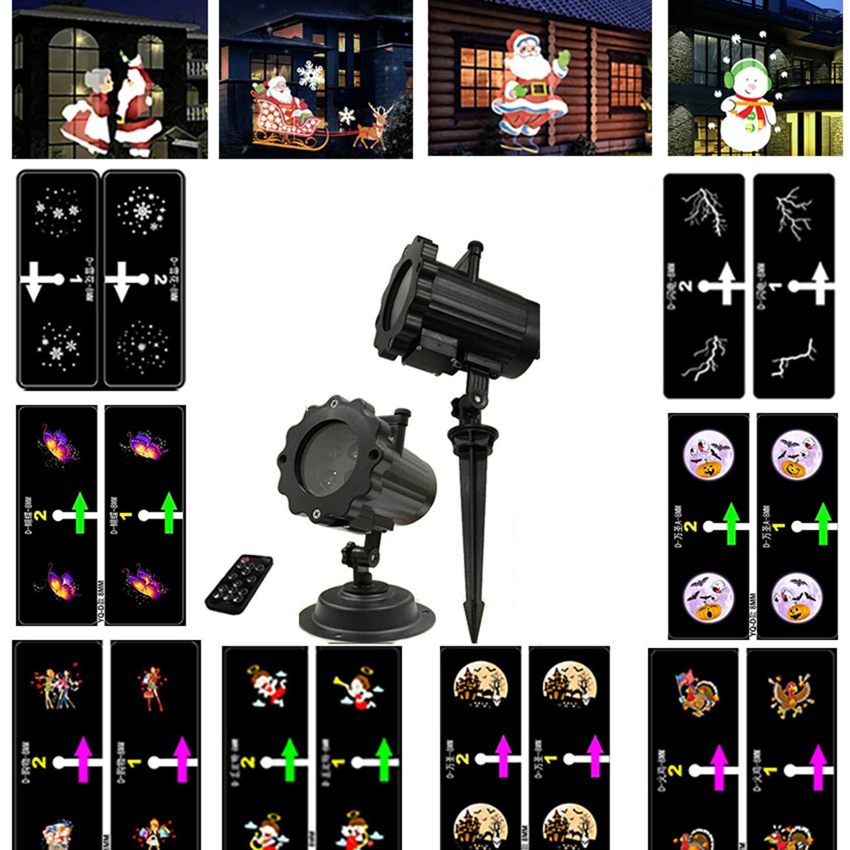 AIBAB Luce per Proiettore di Natale,Proiettore A LED Animato, 12 Immagini, Luce Decorativa da Giardino, Faretto A rossoazione 3D, Festa in Giardino, Impermeabile, Luce Notturna