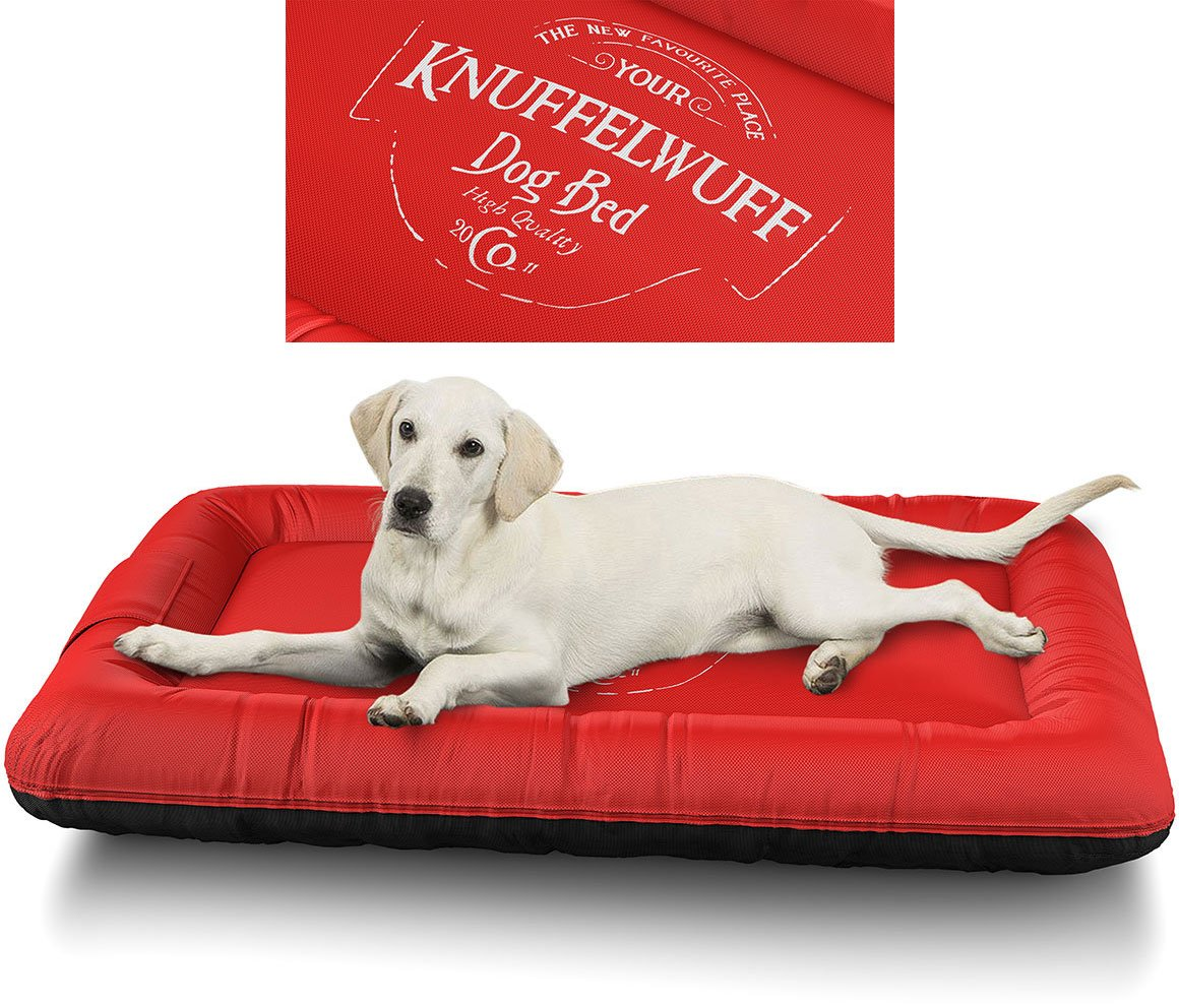 Red XL 88 x 73cm Red XL 88 x 73cm Knuffelwuff Avery Printed Dog Bed, X-Large, 70 x 46 cm, Red