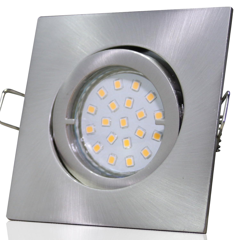 6 Stück SMD LED Einbauleuchte Luisa 230 Volt 7 Watt Schwenkbar Edelstahl geb.   Warmweiß