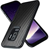 Kitoo Designed for Samsung Galaxy S9 Plus Case, Carbon Fiber Pattern, 10ft. Drop Tested, Wireless Charging - Black