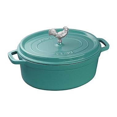 Staub Cast Iron 5.75-qt Coq au Vin Cocotte - Turquoise