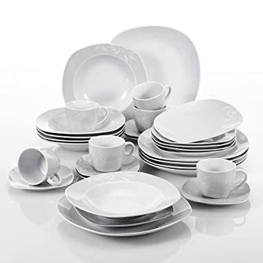 VEWEET 30-Piece Porcelain Square Tableware Decal Patterns White Bowl Set with Dinner, Soup Dessert Plate, Saucer and Mug, Service for 6 (Clover Series)