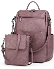 UTO Women Backpack Purse PU Washed Leather Ladies Rucksack Detachable Crossbody Shoulder Bag Purple