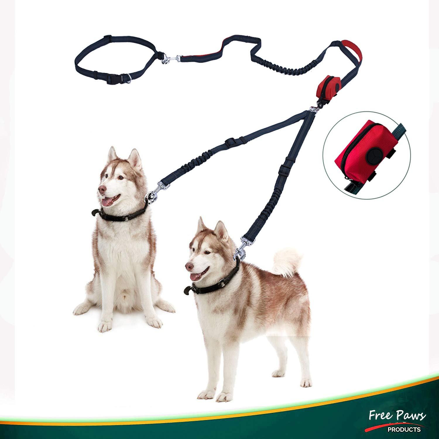 Free Paws Double Dog Leash, Hands-Free Dog Walking Leashes for 2 Dogs with Waist Leash Dual Bungees Padded Handles Waste Bag, 150Lbs Fit Medium to Large Dogs