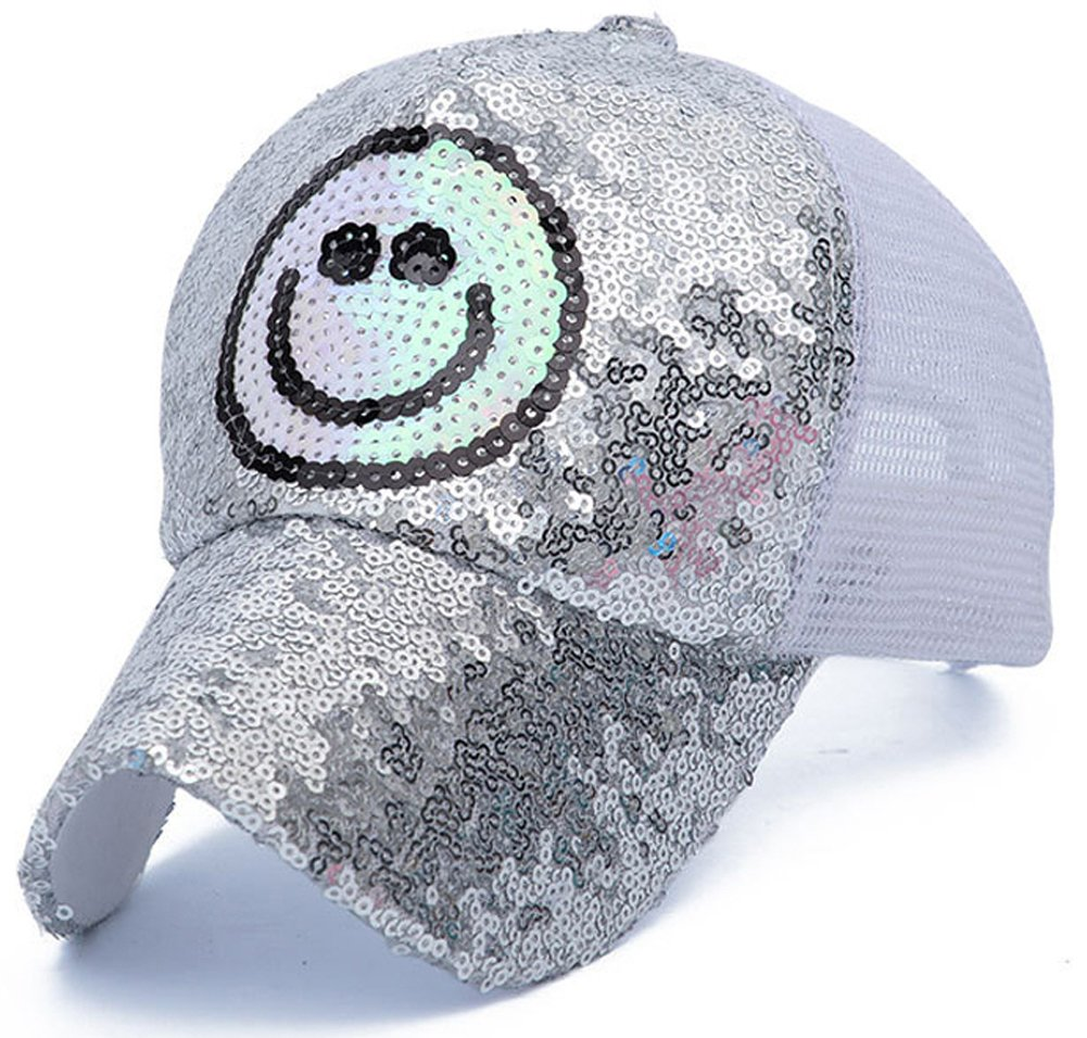 3f5b721fa52 ChezAbbey Adjustable Quick-Drying Snap Back Outdoor Baseball Hat Smile Face  Print Mesh Back Unisex Baseball Cap with Sequins Silver