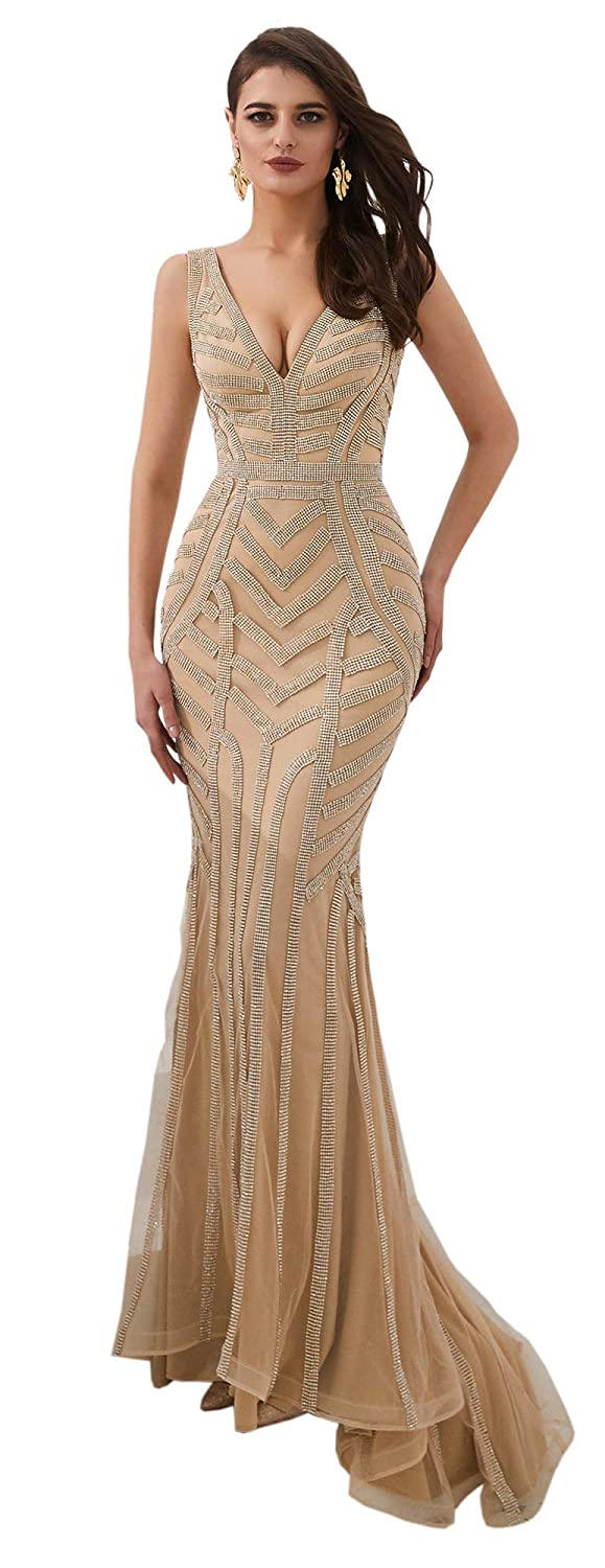 Champagne ONLYCE Women's A Line Sleeveless Prom Dress Beaded Mermaid Formal Evening Gowns