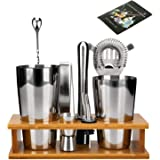 Boston Cocktail Shaker Set-Bar Tools Set With Bamboo Stand,12-Piece Stainless Steel Set, 28oz/20oz Shaker Set Perfect Bartend