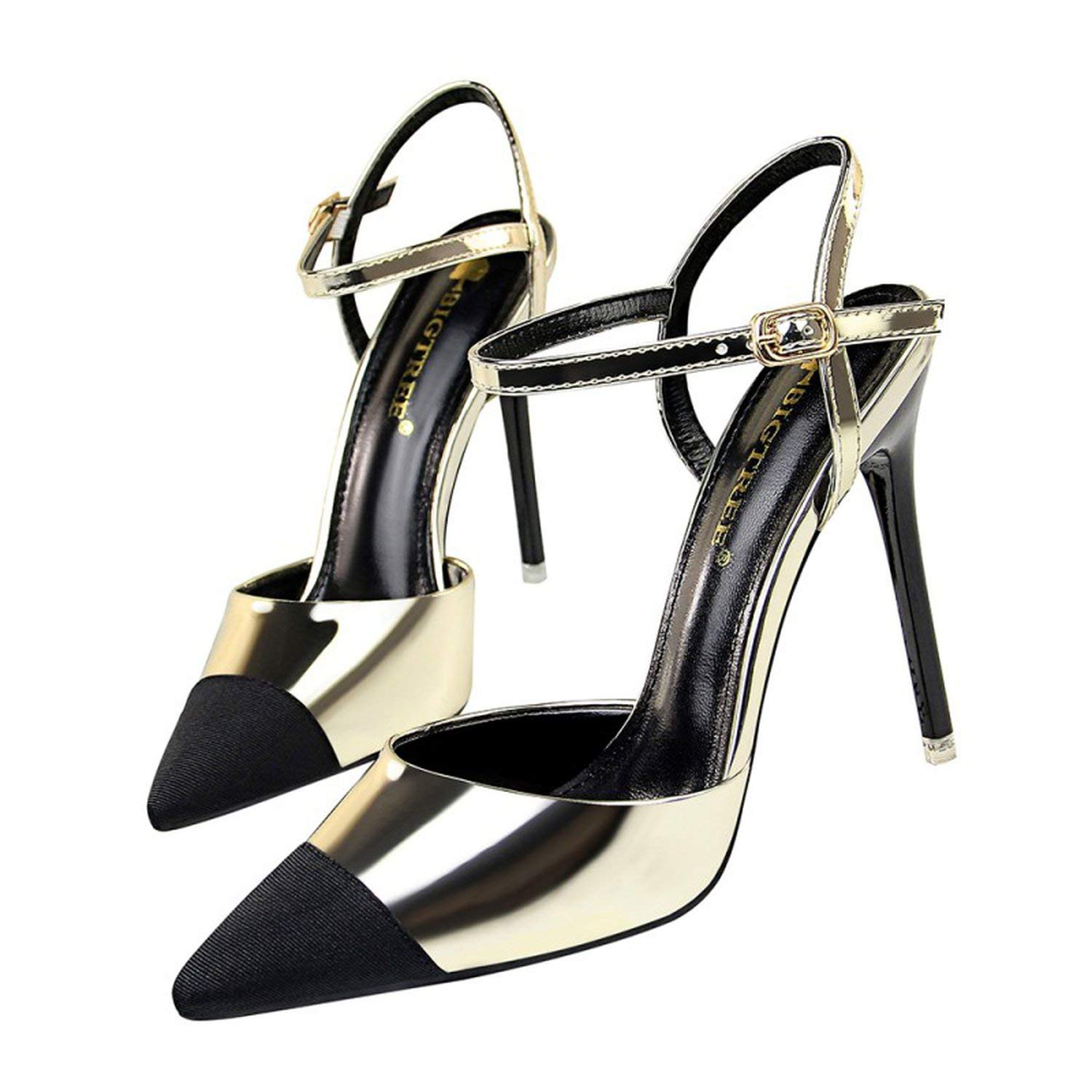 gold coolemon 2019 Women Pointed Toe Pumps shoes Woman High Heels Sandals Sexy Strap Patchwork Stilettos Wedding Party Dress shoes