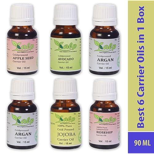 kalp Pack Of 6 Carrier Oils 15Ml Each (Appleseed Oil , Argan Oil , Avocado Oil , Grapeseed Oil , Jojoba Oil , Rosehip )