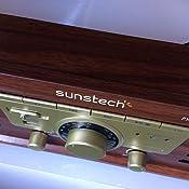 Sunstech PXR3 - Tocadiscos (33 y 45 rpm, USB, FM), color marrón ...
