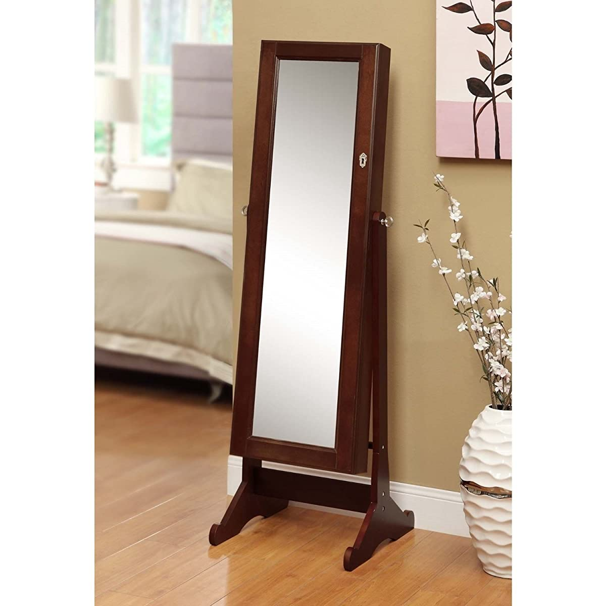 BTEXPERT Premium Cherry Cheval Mirror Jewelry Cabinet Armoire Box Floor Stand Storage Organizer Case Drawer Safety Lock