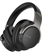 AUSDOM ANC8 Noise Cancelling Bluetooth Headphones with Microphone Hi-Fi Deep Bass Wireless Headphoness Over Ear for PC/Cell Phones/TV -- Black