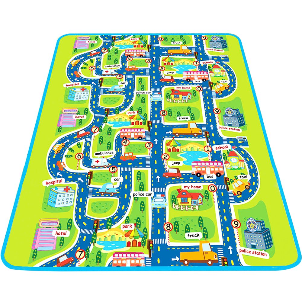 Baby Creeping & Pretend Play Mat, Large Protective Learning Foam Floor Gym, Waterproof Ground Activity Playmat for Infant, Toddlers, Kids. Car Track Road Design With City Town Map - iPlay, iLearn