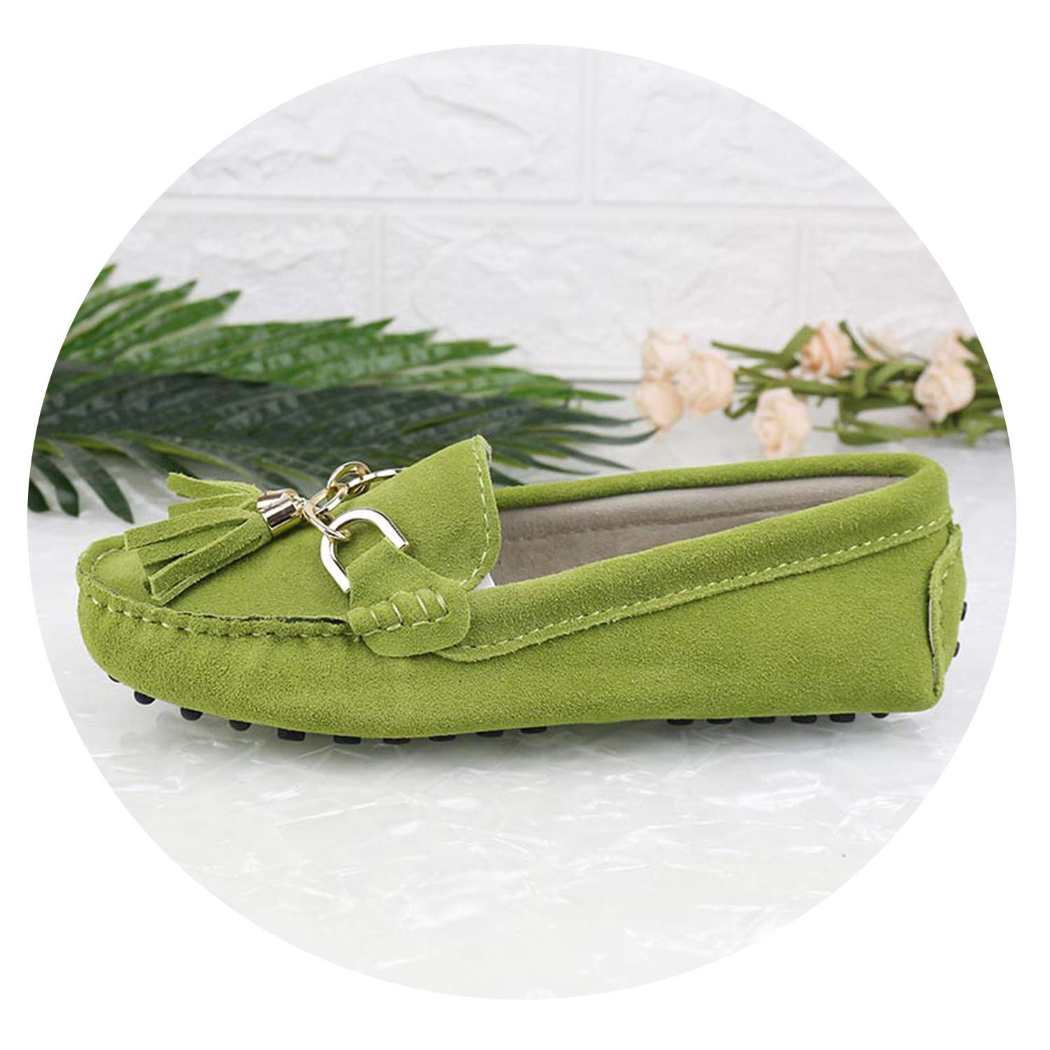 Apple Green Fashion Women Lady Leather Loafers Casual Driving shoes Women Flats shoes