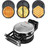 Health and Home 3 Interchangeable Baking Plates for Making waffles, Eggette, Omelet, Upgrade 360 Rotating Belgian Multifuncti