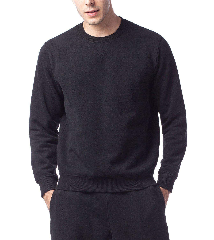 LAPASA Sweat Shirt Homme Pull Doublure en Laine Polaire Molleton sans  Capuche - Noir Gris Chaud f0b47af31037