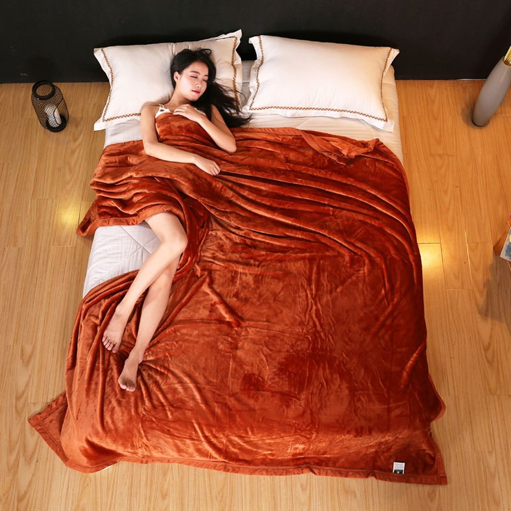 Wddwarmhome Einfarbig Winter Warme Decke Wohnzimmer Freizeit Decke Hotel Bettdecken Vier Jahreszeiten Erhältlich Weich Und Bequem Wolldecke ( Farbe   Orange , größe   230270cm )